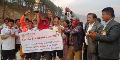 चौंरीदेउराली अध्यक्ष गोल्ड कप फुटबलको उपाधि नाग्रेगगर्चेलाई